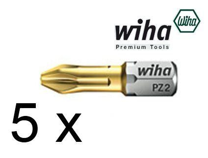 "5 x Wiha PZ2 Titanium Pozi 2 Screwdriver Bit 25mm long 1/4"" Hex TIN Pozidriv"