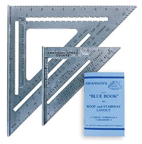 "Swanson 7"" & 12"" Speed Roofing Rafter Square Twin Pack Set WITH Blue Instruction Book"